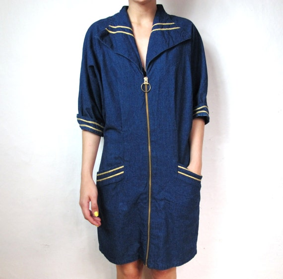 Sailor Denim Gold Piped Dress(M/L)