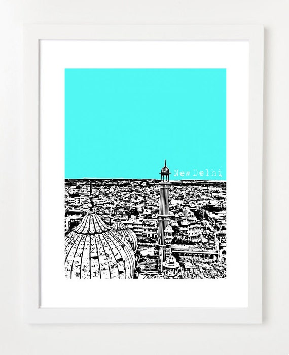 New Delhi Art  - India City Skyline Art Print  8x10 -