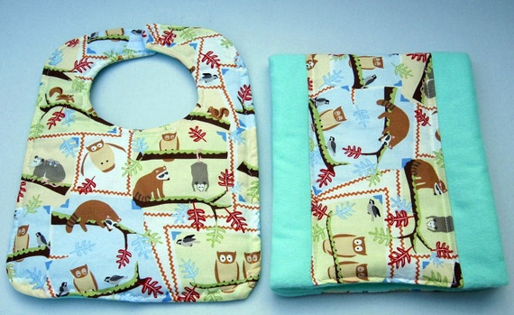 Baby Bib and Burp pad set featuring Owls and Forest Animals handcrafted by Sewinggranny