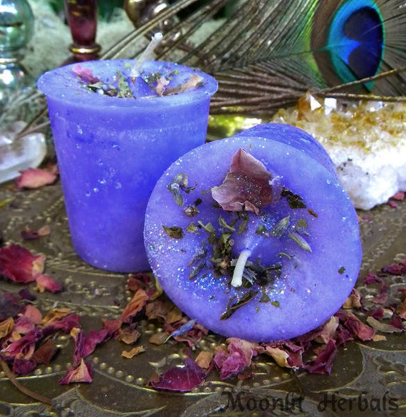 Faerie Glamour Votive Spell Candles - Set of 4 - Faerie Magick, Glamoury, Garden Blessing - Blend of Heliotrope, Verbena, Willow, Dandelion