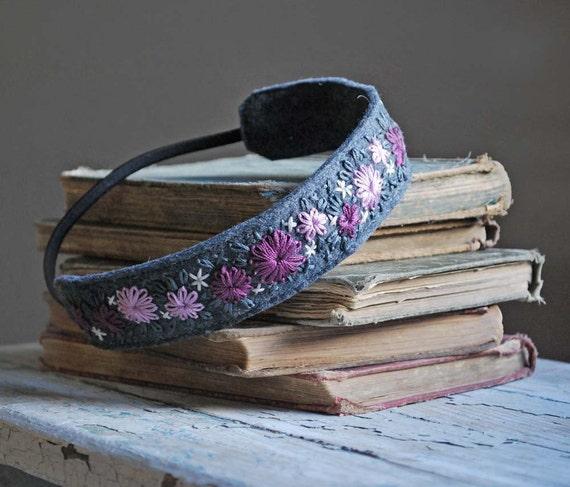 Войлок Войлок Вышивка головная повязка из рук Вышитые Фиолетовый Слива Лаванда тема, имеющая шерсть серого олова Войлок любовью Мод