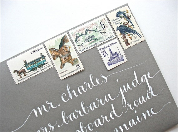Vintage stamps and calligraphy by LetterBeOnEtsy