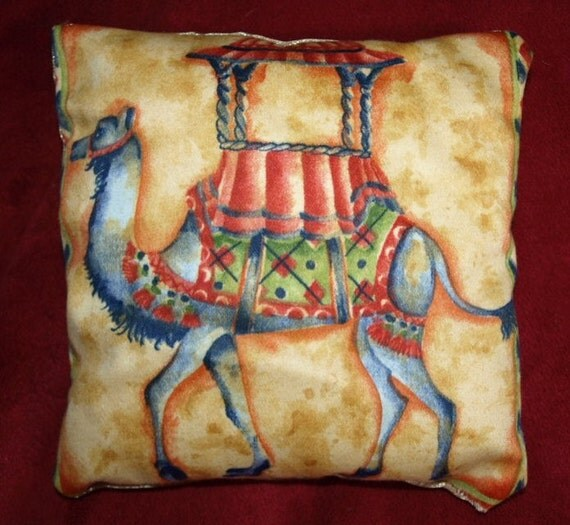 "Vintage 1980s Indian style Camel Print Cotton Scatter Pin Cushion Asian motif Gold & Red Satin backing Cotton stuffing 6.5x6.5""  17x17cm"