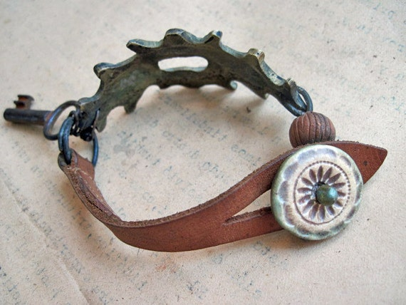 In a Dark Time. Rustic Bracelet with Antique Hardware.