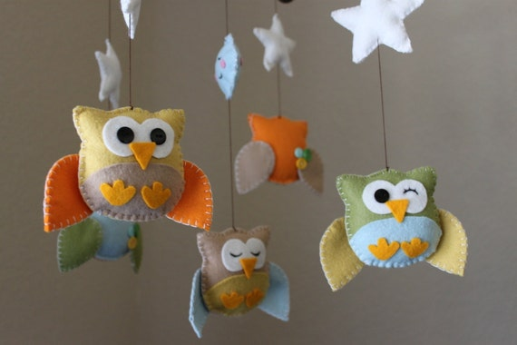 "Baby Crib Mobile - Baby Mobile - DecorativeNursery Mobile - ""Five little owls in the night"" Design (You can pick your colors)"