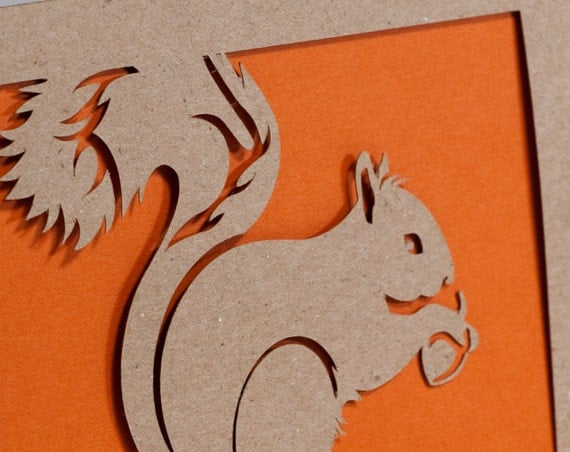 Squirrel Card of Cut Paper in Kraft Brown and Orange