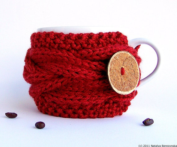 Cranberry Cup Cozy Red Mug Sleeve Coffee Tea Dark Ruby Bright Wine Berry Claret Cherry Little Red Riding Hood Vegan Christmas Harvest Garden