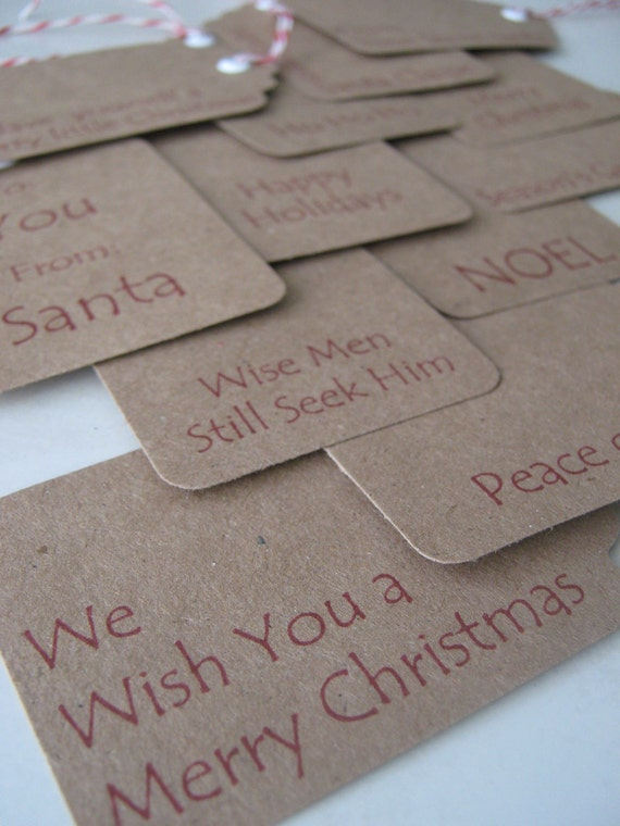 "Christmas Gift Tags Kraft Brown with Red and White Twine - Set of 12 - 2-1/2"" x 1-3/4"""