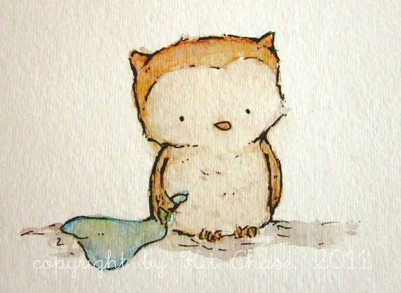ORIGINAL PAINTING Little Owl 5x7 nursery art for baby and children