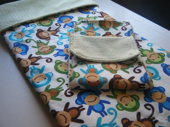 Baby Blanket with Burp Cloths Gift Set - Monkeys - Ready to ship