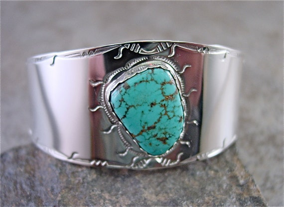 Cuff with Carico Lake Turquoise Sterling Silver  Genuine and Handcrafted by Lita