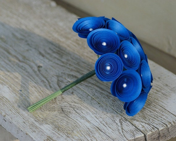 Royal Blue Bouquet -- Sodalite Blue Paper Flowers Flowers with Silver Beads -- Medium Bridesmaids Bouquet