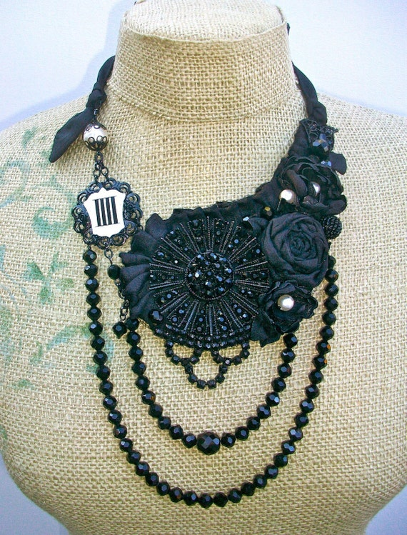 Symphony no. 4-  Statement Bib necklace with Vintage findings