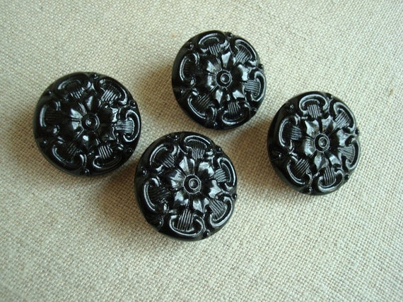 Vintage Czech black glass buttons
