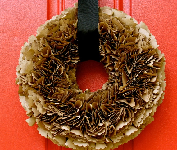Recycled Beautiful Brown Paper Wreath