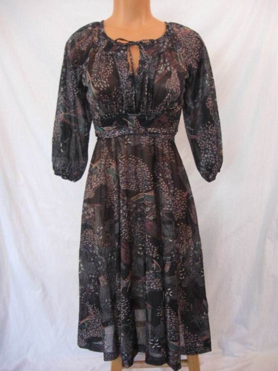 ELEGANT vintage disco dress - peek a boo empire - full skirt - GYPSY GLAM - fireworks - xs s