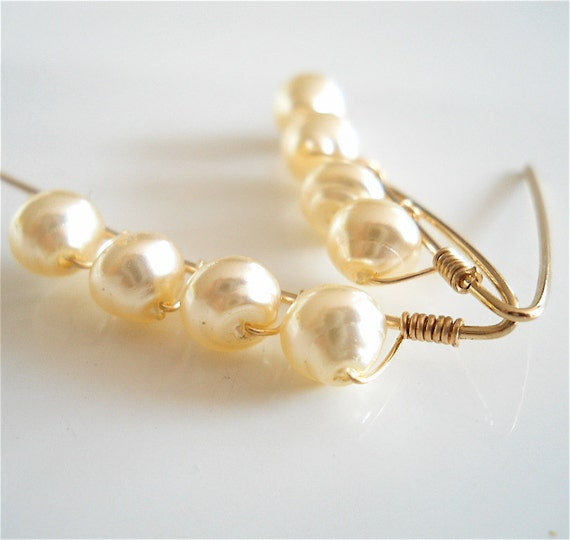 Glass Pearl Earrings Vintage Guterman Glass by YOURDAILYJEWELS from etsy.com