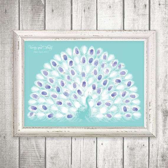 printable guestbook  fingerprint peacock