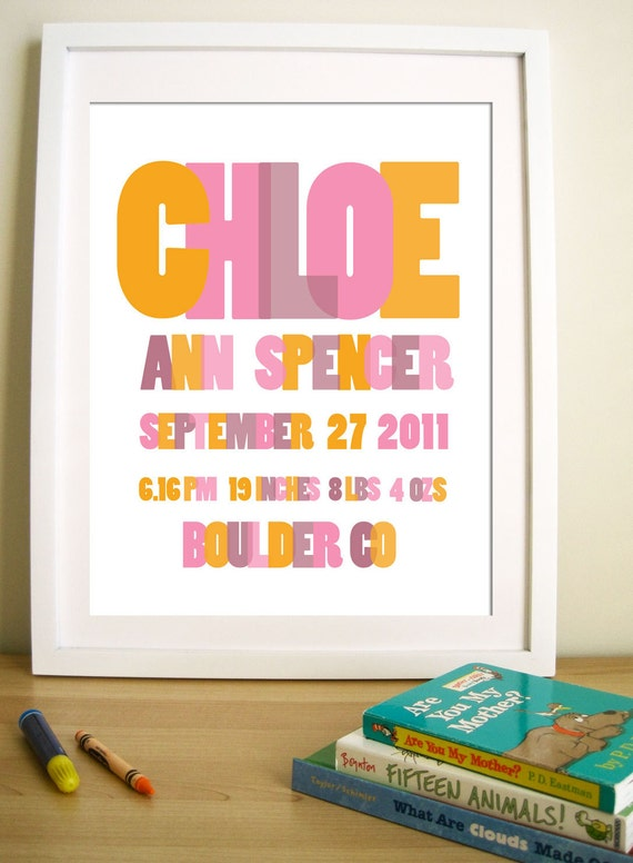 Modern Nursery Art print - Personalized -Layered Typography , 8X10, Other sizes available