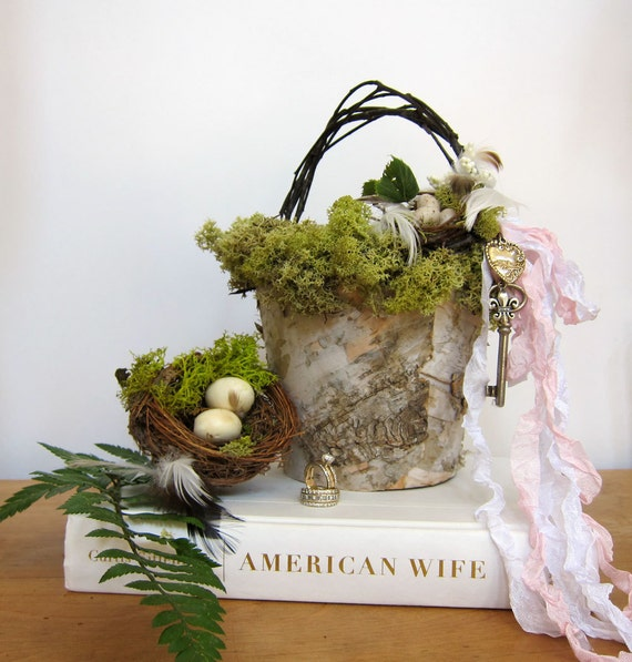 Birch Bark Flower Girl Basket with Moss, Nest and Eggs Nature Inspired Wedding
