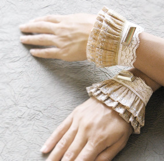 Lyr elastic lace ruffled cuffs,romantic wrist warmers