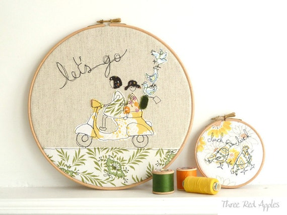 "Embroidery Hoop Art - 'Let's go' Textile illustration in yellow & green - large 10"" hoop"