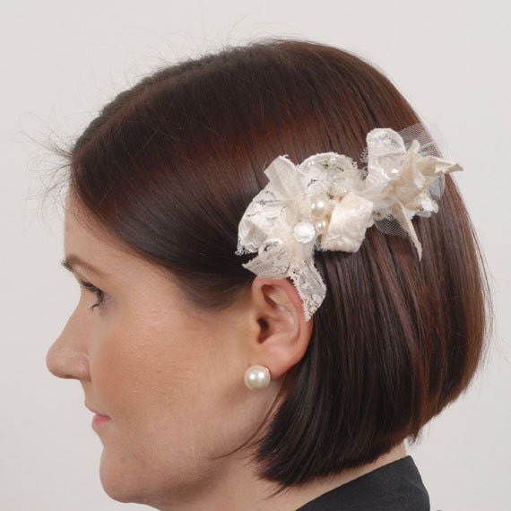 Vintage Country Wedding Bridal Hair Accessory Lace Wedding Head Piece Ivory