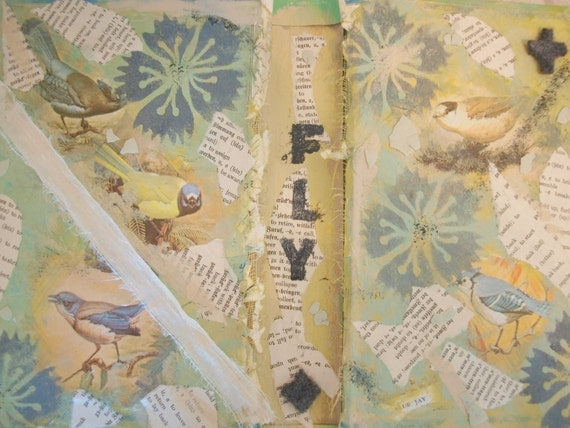 FLY original mixed media tattered collage on vintage book cover
