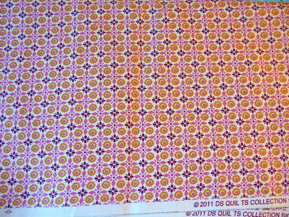 DS Quilts Denyse Schmidt Sugar Creek Kitschy Tile Pink Red Rhubarb Fabric 1yd