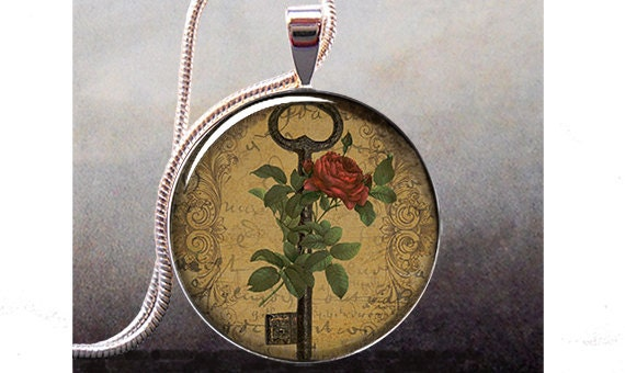 Gothic Rose and Key art pendant charm, resin pendant picture pendant photo pendant (326)
