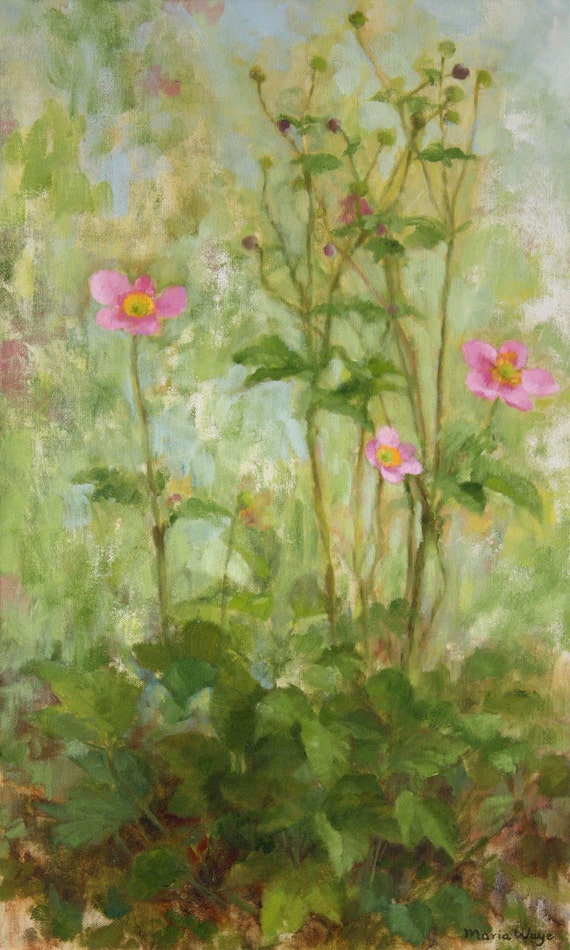 Plant Painting Original Oil Painting Flowers pink green Anemones Blossoms Leaves Garden Landscape rustic natural 12 x 20 inches