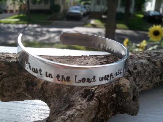 Bible Verse Bracelet.. Proverbs 3:5..Trust in the Lord with all your heart...or CUSTOMIZE..up to 60 Characters.