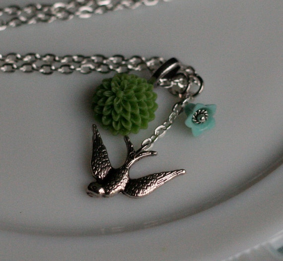 Swallow and Moss Mum Charm Necklace -- Antique Silver