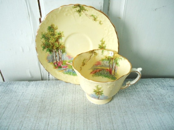 Butter Yellow Vintage Tea Cup and Saucer