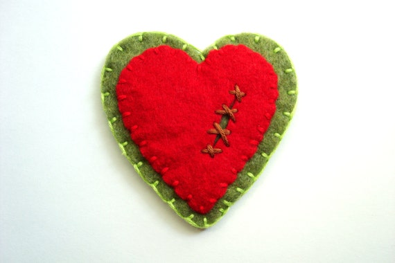 Zombie Heart Felt Pin Horror Felt Brooch Halloween