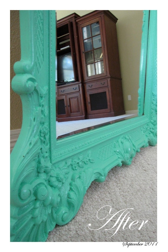 RESERVED until FURTHER NOTICE: Shabby Chic- Large- Light Teal Mirror