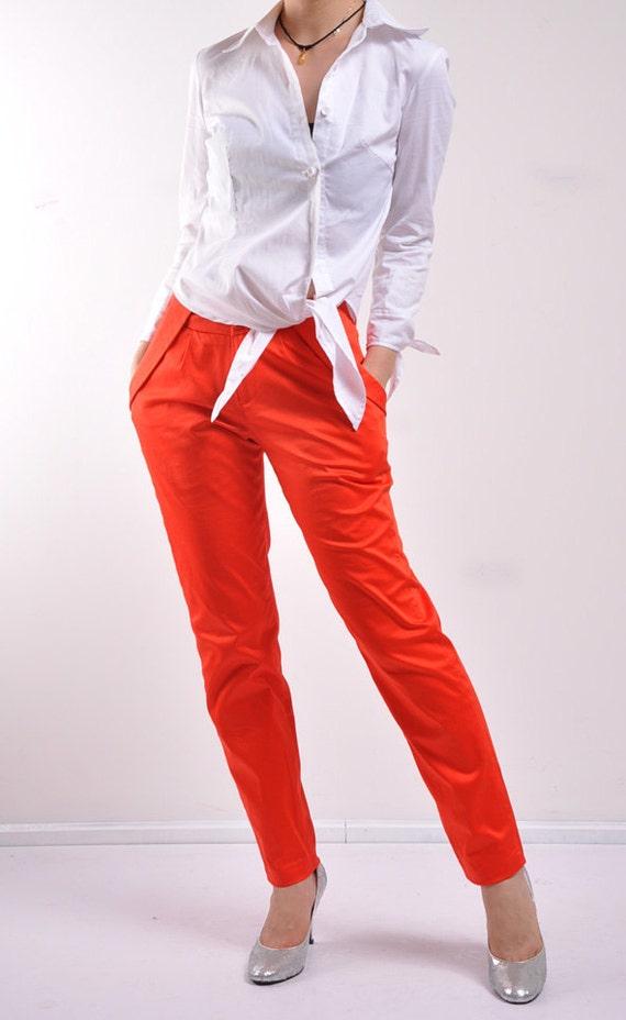 نارنجی جیب پنبه کم دور کمر لاغر پا بلند مخروطی شلوار