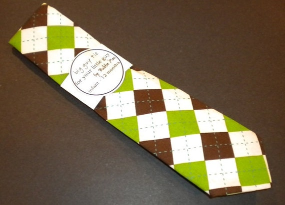 Green and Brown argyle  newborn toddler necktie collection  U choose size by Bubba Mae