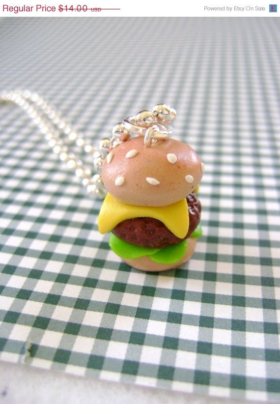 SALE Hamburger Pendant- Small Size