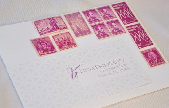 One Set of Vintage Postage Stamps - Purple / Pink / Fuscia / Magenta - mail one letter