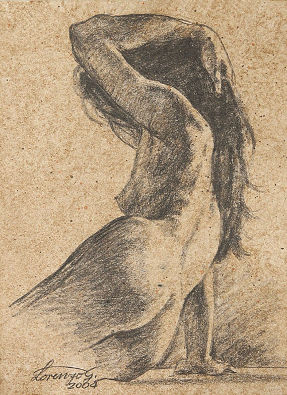 Original Fine Art Drawing - Female Nude - Charcoal - 9.5x7 inches