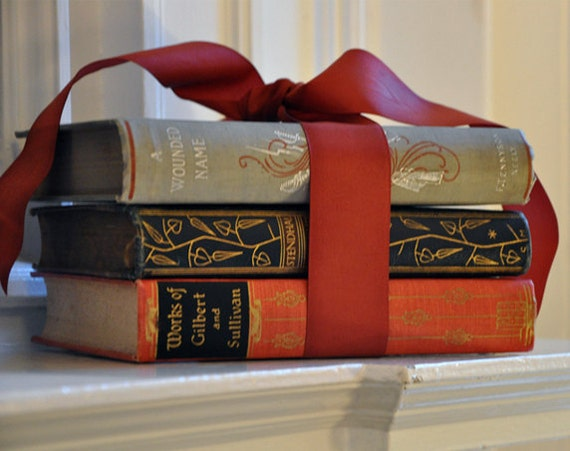 Set of 3 Vintage Rare Books with Beautiful Illustrated Bindings, 1890s - 1930s