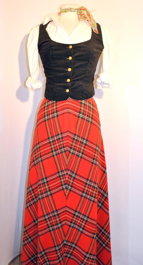Vintage 60s Tartan plaid red wool wrap maxi skirt