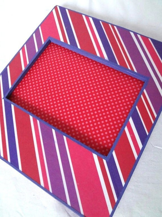 Red and Purple Stripe Picture Frame