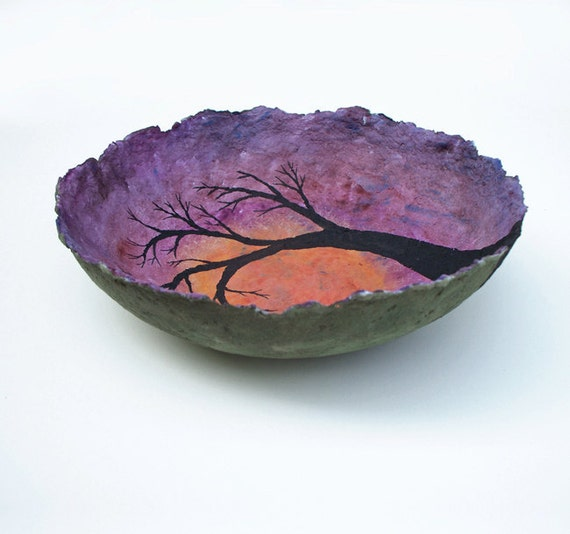 orchid sunglow, decorative landscape handmade paper bowl, large size