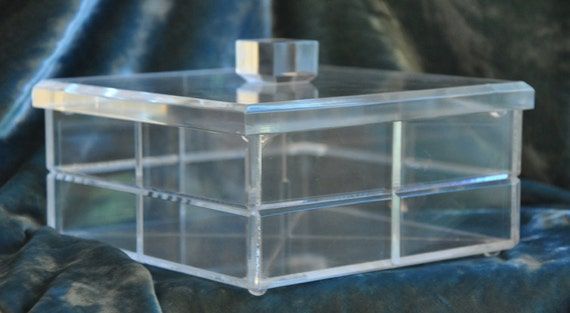 Vintage Lucite / Acrylic Box with Divider - Glamorous, Hollywood Regency