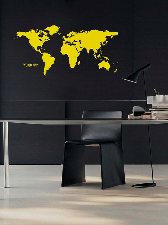 "WORLD MAP: Wall Decal Vinyl Sticker (45x22"")."