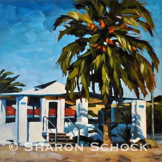 Santa Barbara Oil Painting -  12x12 - Shoreline Beach Cafe