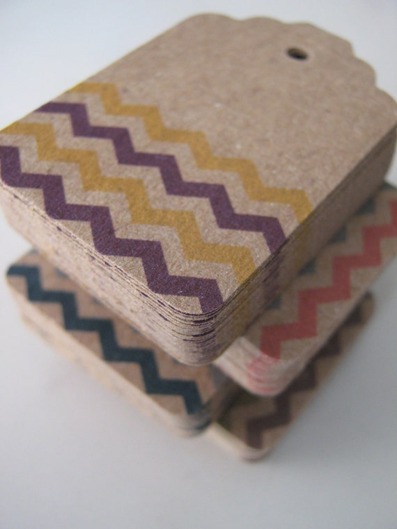 Kraft Brown Chevron Tags Fall Pantone Colors - Set of 300