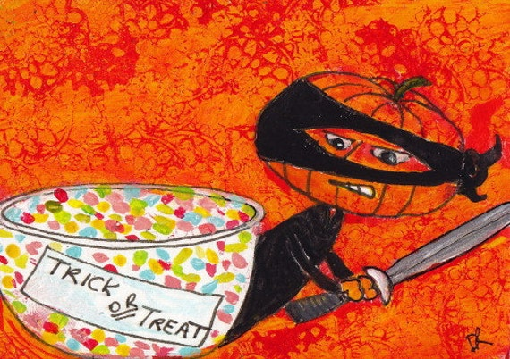 Halloween Ninja: ACEO Original Art